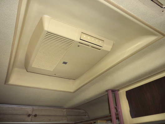 The ceiling installation of the factory AC unit is thoughtfully designed and attractive.